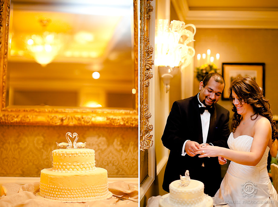 bride and groom cut cake at four season prague Prague, Czech Republic Wedding Hluboka Castle