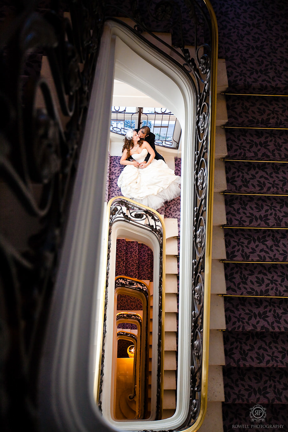 trianon palace hotel staircase portraits bride and groom paris Honeymoon Escape   Tara & Ryan   Versailles, FR.