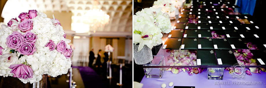 purple wedding decor Paul & Leanna at Glendon Hall & The Royalton   Toronto Wedding