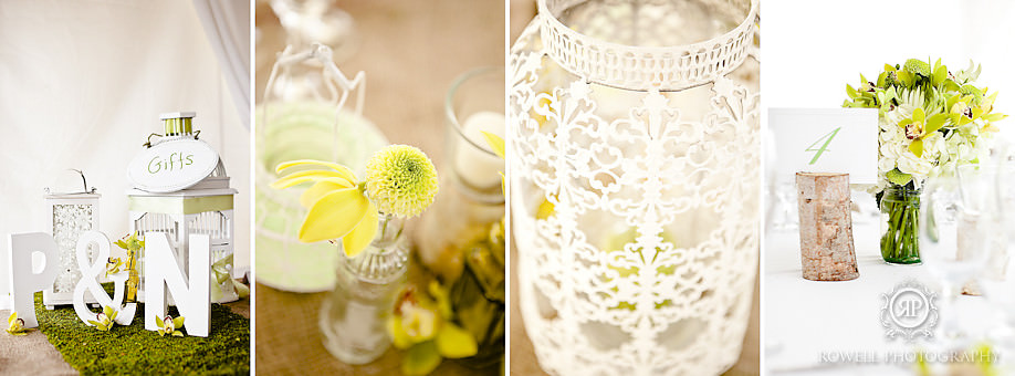 green and yellow wedding details Natalie & Phil   Delta Rocky Crest Resort   Muskoka, ON