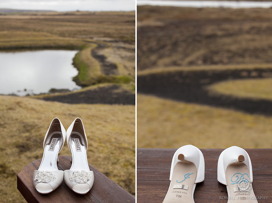iceland wedding photographer brides shoes Seljalandsfoss Iceland Wedding Photography