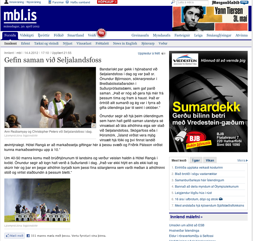 iceland wedding photographer newspaper feature Seljalandsfoss Iceland Wedding Photography