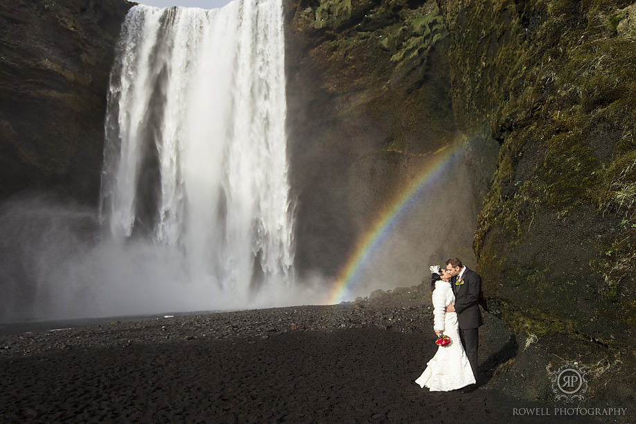 Skogafoss Wedding kiss in Iceland