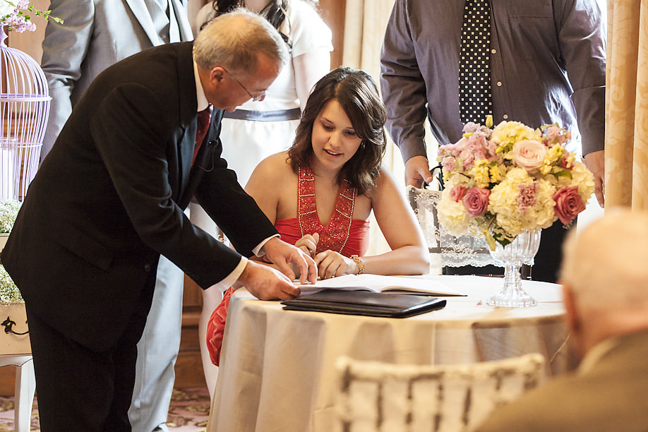 maid of honor signing register Our Beautiful Fairmont Royal York Wedding