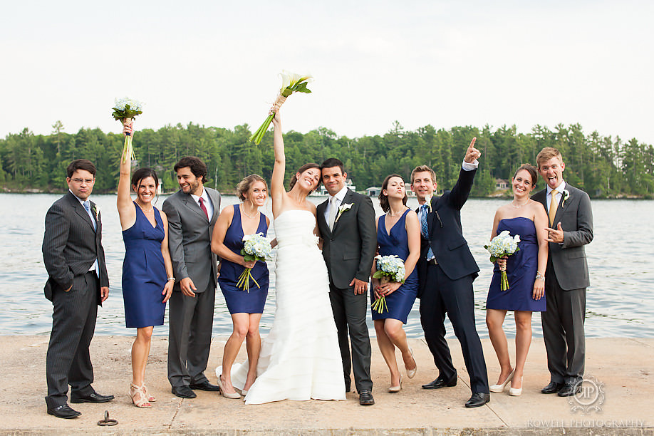 fun wedding party photos on a dock muskoka Marcio & Lindsay   Windermere House Wedding