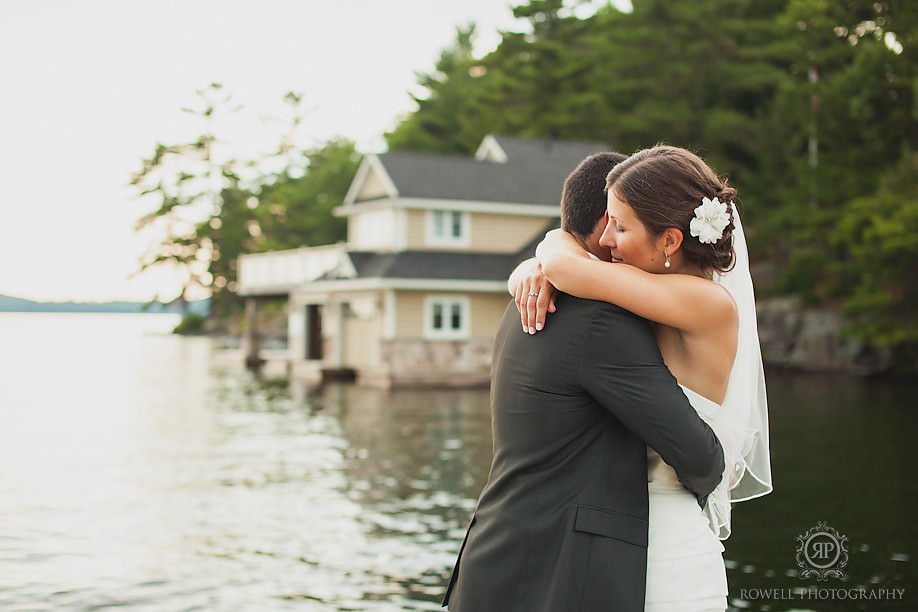 romantic embrace muskoka wedding lake side Marcio & Lindsay   Windermere House Wedding