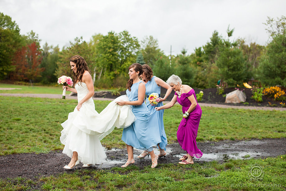 bride and bridemaids on their way to wedding muskoka Touchstone on Lake Muskoka Resort Wedding   Adrienne & Rob