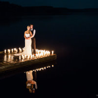 Muskoka photographers capture nighttime wedding photos on Mary lake in Muskoka.