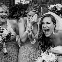 Toronto photographer captures funny moment during distillery district wedding.