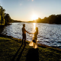 Toronto photographer captures sunset Toronto Island pre-wedding photos.