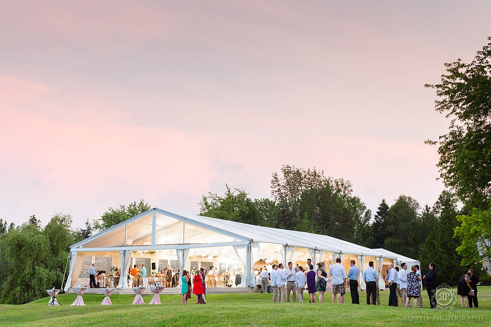 Caledon photographers capture beautiful backyard wedding in a tent.