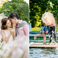 Toronto photographer captures Hong Kong couples destination Toronto pre-wedding photos at Toronto Island.