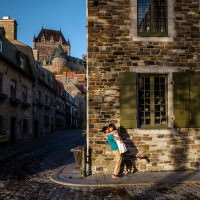 Quebec City photographer captures Singaporean couples Quebec City pre-wedding photos.