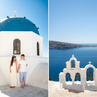 Santorini photographer captures destination photos of Chinese couple on the rooftops of Santorini, Greece.