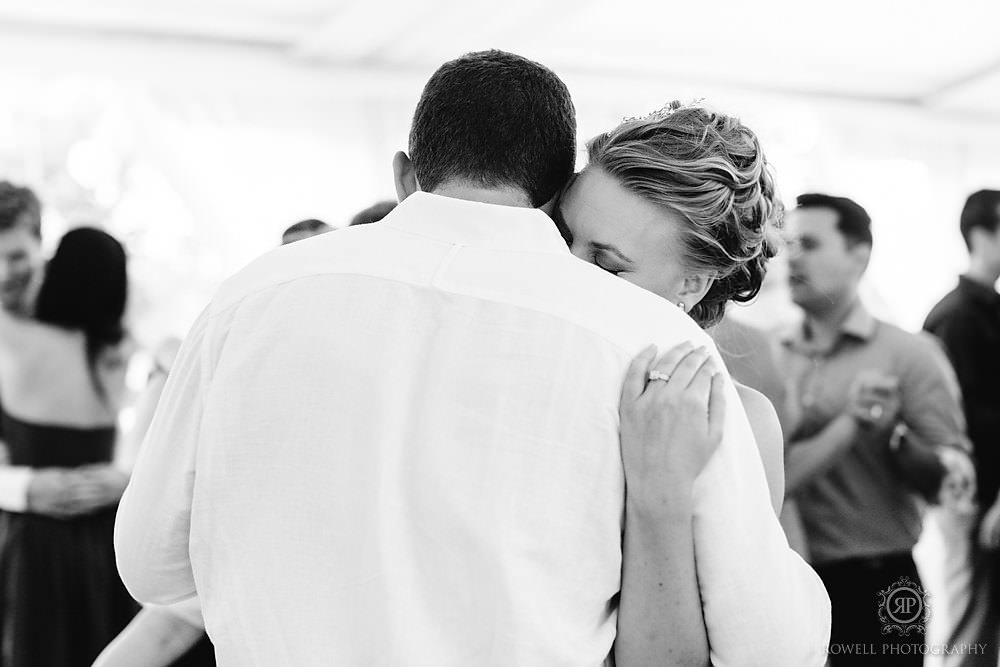 bride and groom slow dance canadian wedding reception Backyard Wedding