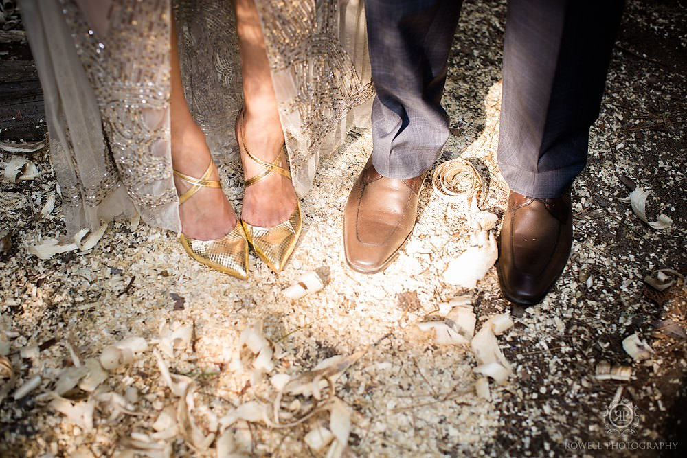 cute gold wedding shoes Killarney Lodge Wedding   Algonquin Park Canada