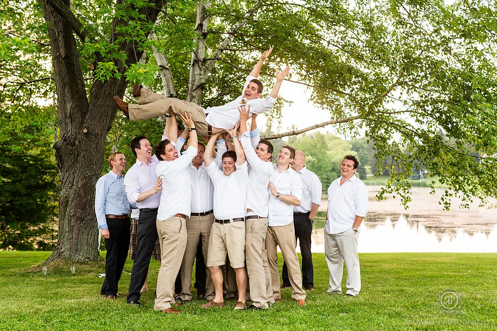fun groom men photography Backyard Wedding