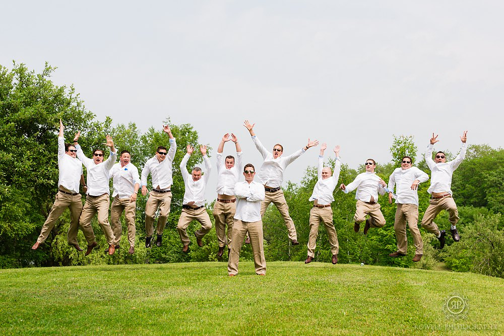 fun grooms men photos canada wedding Backyard Wedding