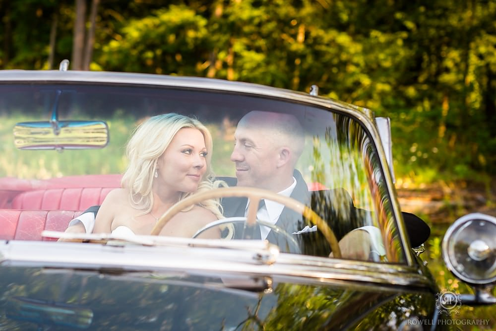 cute couples in a classic car on their wedding day Wedding at Rocky Crest Resort