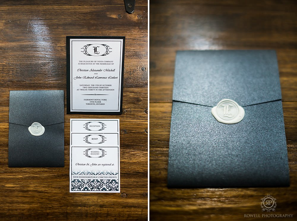 black iwedding invitation Fairmont Royal York Wedding
