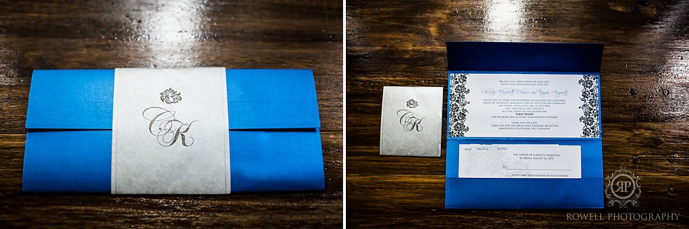 blue wedding invitation Taboo Resort Golf & Spa   Muskoka