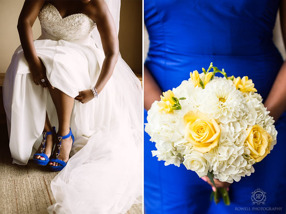 blue whit and yellow wedding Taboo Resort Golf & Spa   Muskoka