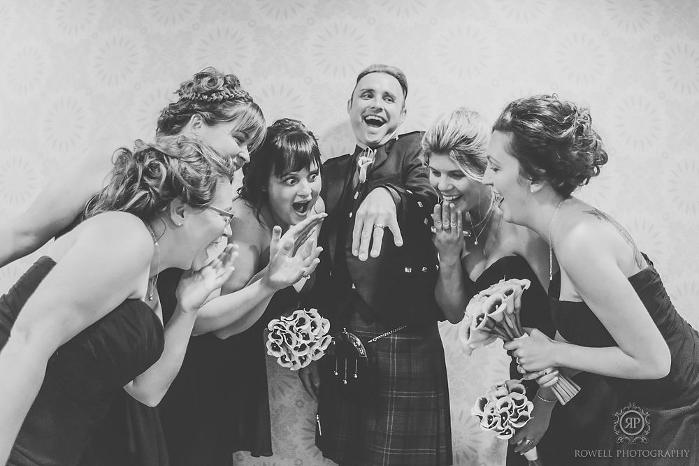 hilarious groom with bridesmaids photos Fairmont Royal York Wedding
