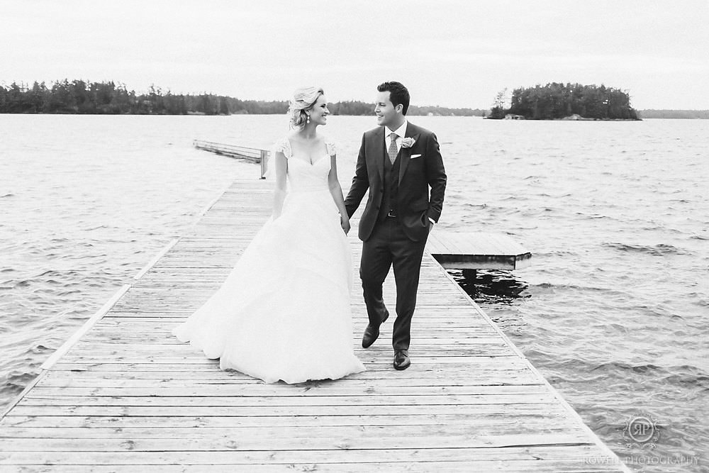 black and white romantic wedding photos on the lake Muskoka Wedding at Taboo Resort