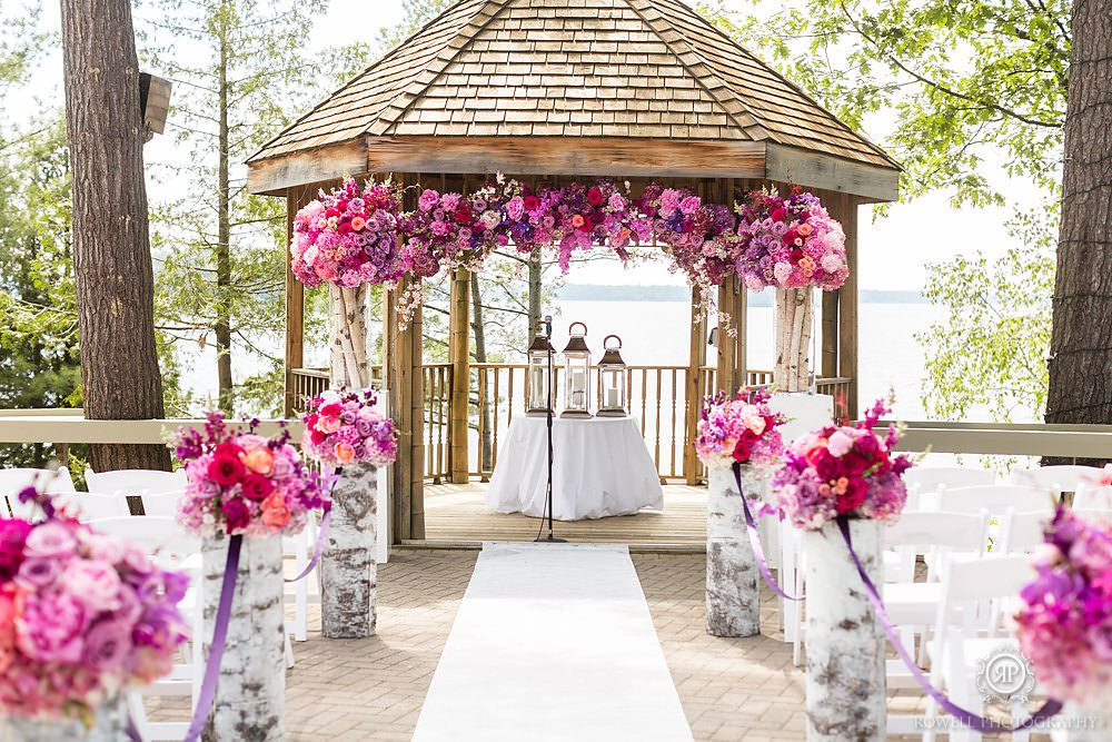 fireside patio wedding ceremony Muskoka Wedding at Taboo Resort
