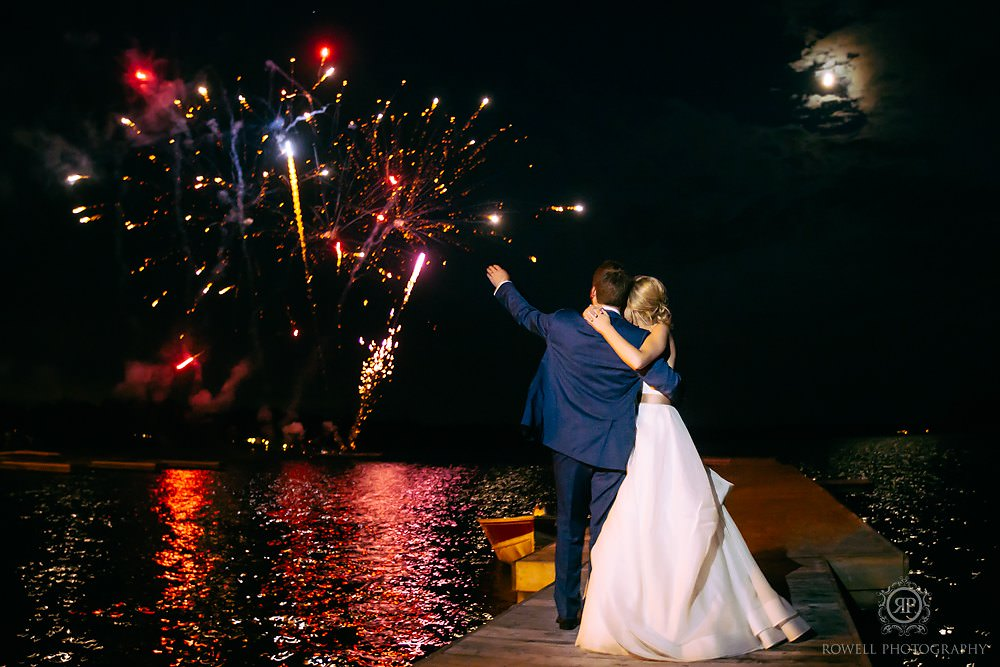 fireworks display at taboo resort wedding Muskoka Wedding at Taboo Resort