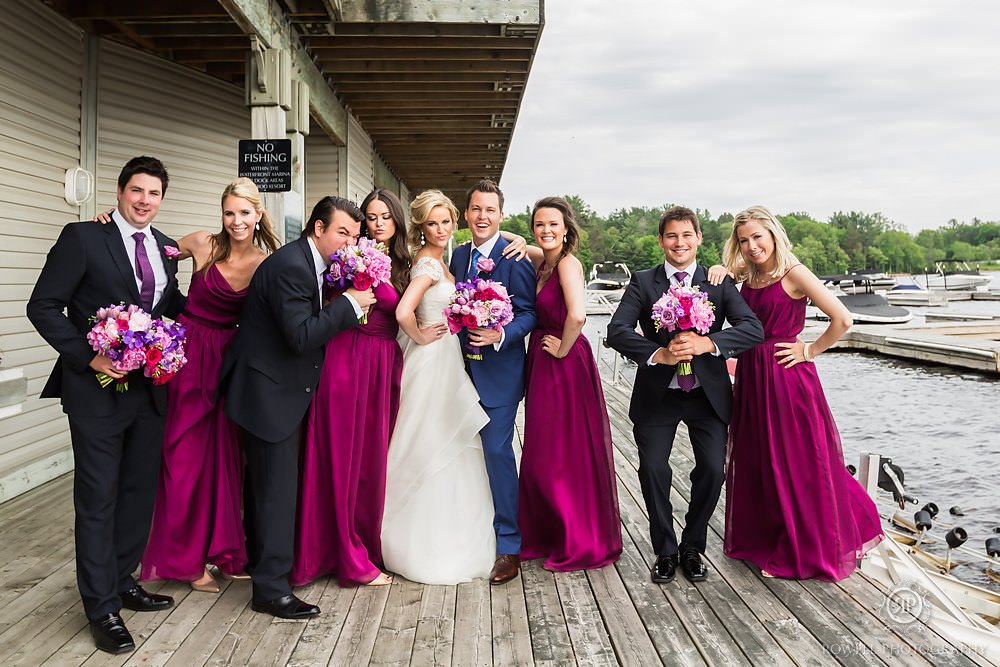 fun bridal party group shots in muskoka Muskoka Wedding at Taboo Resort