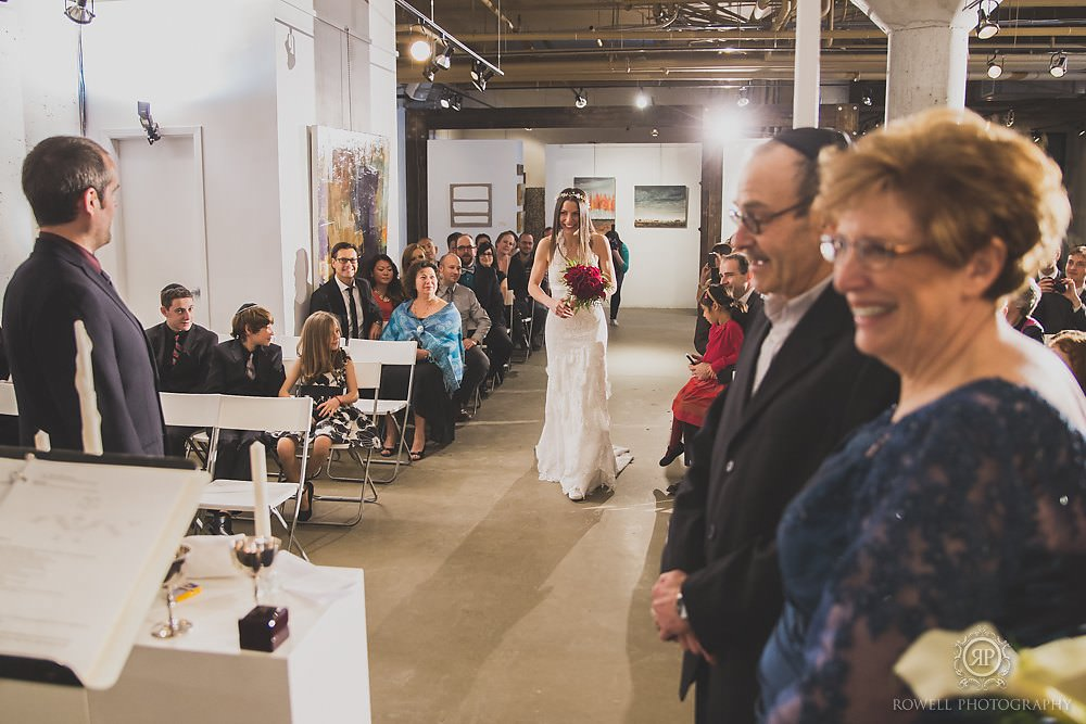 bride walks down aisle at arta distillery gallery toronto Arta & Archeo Wedding   Toronto