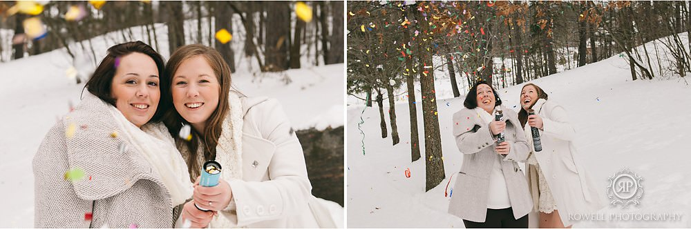 candid fun wedding photos with confetti Deerhurst Resort Elopement   Muskoka