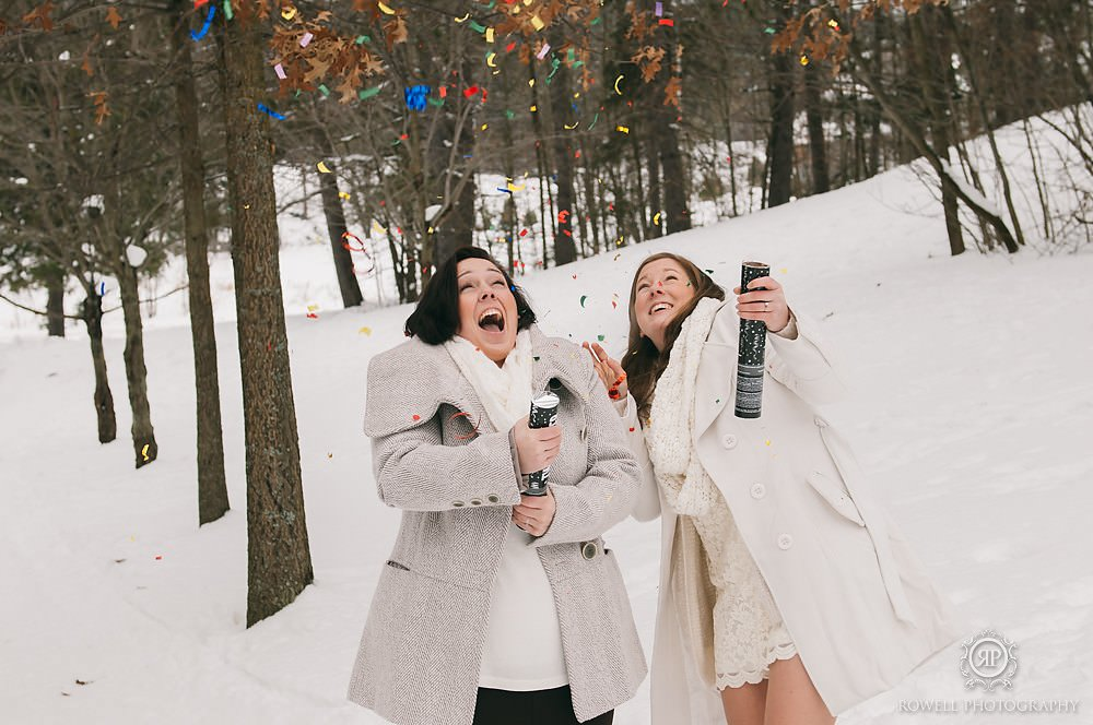 fun winter wedding with confetti in muskoka canada Deerhurst Resort Elopement   Muskoka