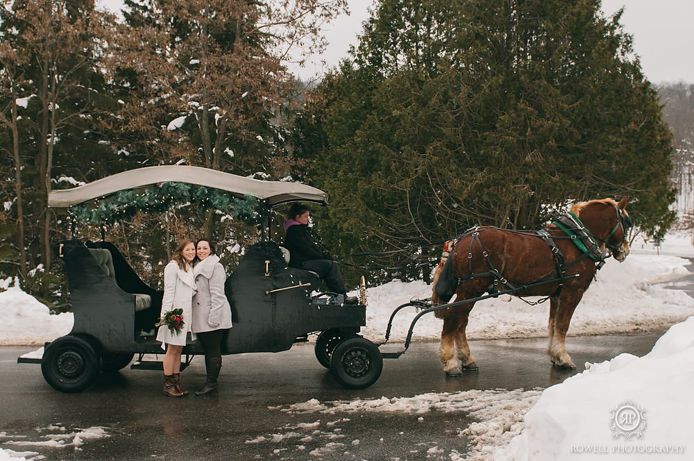 horse and carriage wedding in muskoka canada Deerhurst Resort Elopement   Muskoka