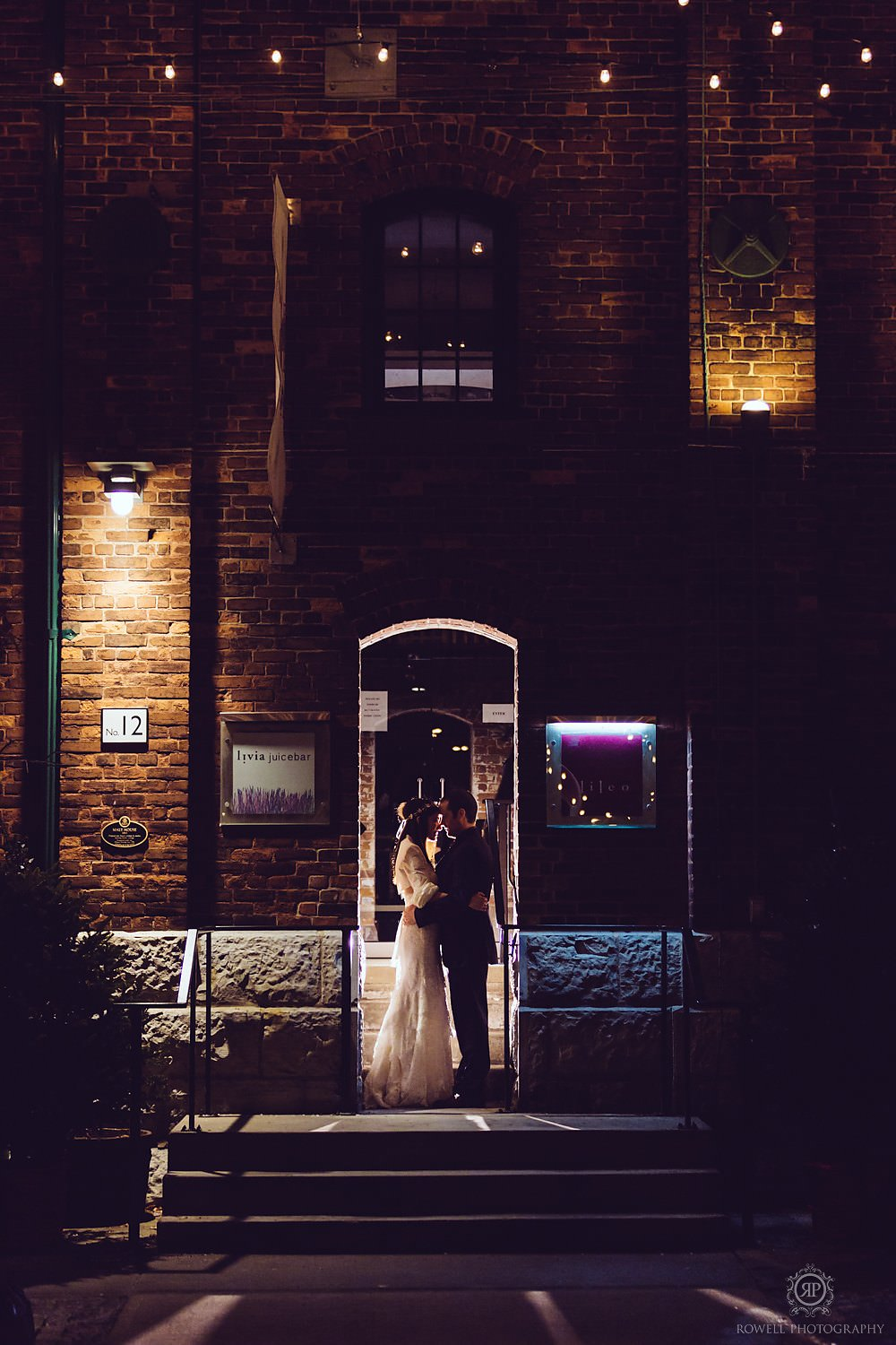 toronto historic distillery wedding portraits at night Arta & Archeo Wedding   Toronto
