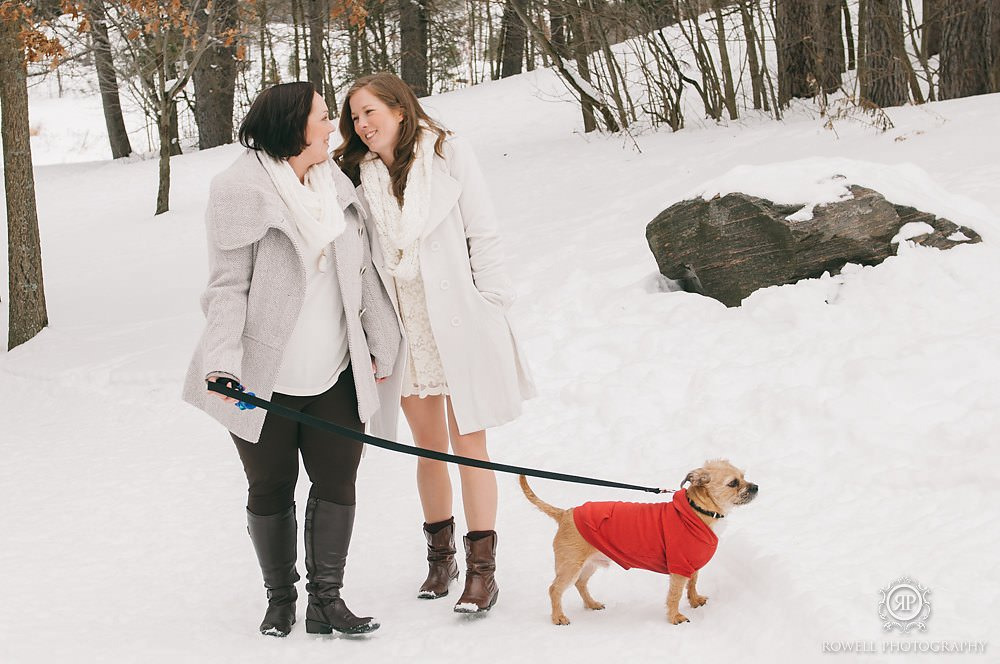 winter couples photos with their dog muskoka Deerhurst Resort Elopement   Muskoka