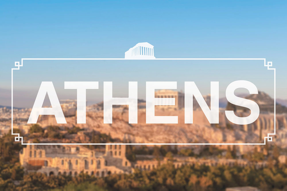 paris france header photo with athens greece and graphics over