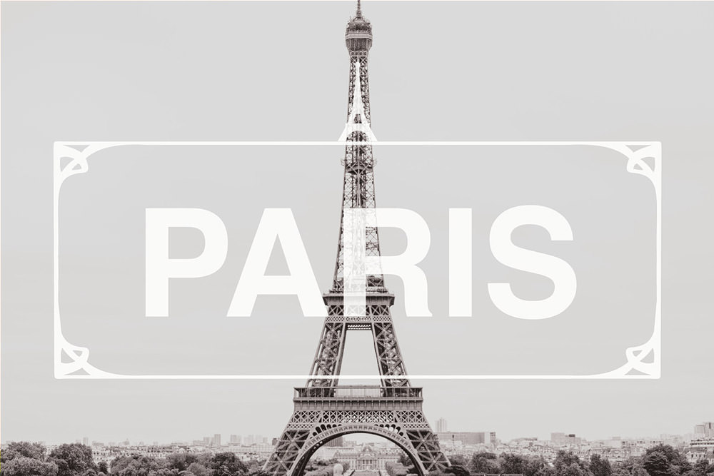 paris france header photo with eiffel tower and graphics over