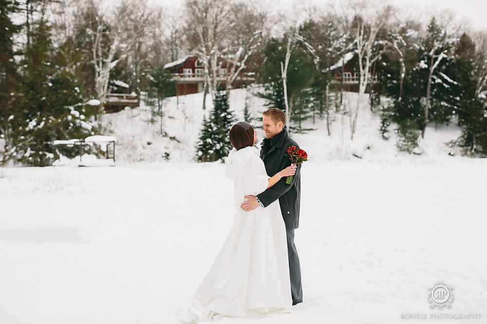 trillium resort muskoka winter wedding first look embrace Trillium Resort Muskoka   Winter Wedding